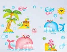 Cartoon Tropical Fish Whale Wall Stickers Removable Kids Nursery Home decor