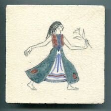 """Hand painted 5""""sq Dancers series tile by Rosalind Ord for Packard & Ord, c1935"""