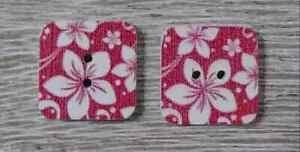 wood square buttons Sewing 2 Holes white red 1/2 inch 2Pcs