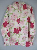 Linen Kim Rogers Women's Size Medium Pink Floral 3/4 Sleeve Button Front Blouse