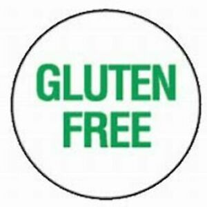 GLUTEN FREE STICKERS 37MM DIA Round Self Adhesive Green text LABELS