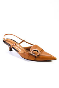 Salvatore Ferragamo Womens Pointed Toe Slingback Pumps Brown Leather Size 9.5 C