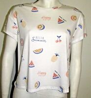 NEW LADIES SUMMER TOP MARKS & SPENCER LIMITED EDITION IVORY MIX HAPPY DAYS