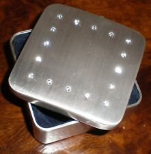 Silver Colour With Dark Blue Velvet Lining And Diamond Planted Cover Trinket Box