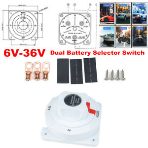 6-36V Dual Battery Selector Switch Disconnect Power Cut Off on for RV Yacht Boat