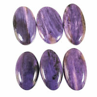 6 Pcs Natural Charoite Russia Deluxe Quality 22mm-26mm Loose Cabochon Gemstones