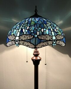 Enjoy Tiffany Style Floor Lamp Sea Blue Stained Glass Dragonfly Antique Vintage