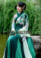 China Kimono Chipao Lotus Fairy Green Cotten Dancing Dress Custom-Made HanFu