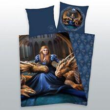 Anne Stokes Bettwäsche Drache Frau Fantasy blau Baumwolle