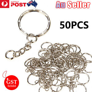 50 Pcs Bulk Split Metal Key Rings Keyring Blanks With Link Chains For DIY Craft