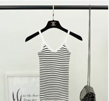 LADIES STRIPE KNITTED SLEEVELESS TOP (DZ) - WHITE
