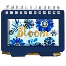 #8478 - WELLSPRING BLUE WHITE GOLDEN SMALL ADDRESS ORGANIZER BOOK WITH PEN -WOW!