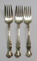 3 1847 Rogers VINTAGE Grape Pattern Silverplate Cold Meat Forks No Monos