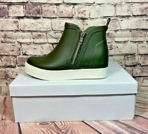 NIB WMN STEVE MADDEN WEDGIE OLIVE RUBBER WEDGE RAIN BOOTIES BOOTS SHOES MULT SZ