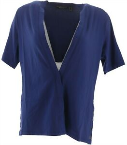 Susan Graver Weekend Stretch Modal Cardigan Prussian Blue S NEW A287660