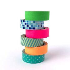 Flouro Washi Tape Set Bright Neon Solids Stripe Squares Spots 6 x 10m