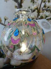 Heaven Sends LED Glass Ball with jewelled Peacock Feather Des Christmas Dec 11cm