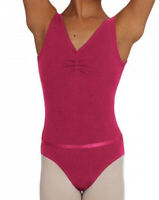 CAPEZIO TANK LEOTARD W/BELT SOFT LYCRA MULBERRY COLOR CAD 201C F11 SMALL CHILD