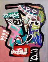 CORBELLIC ART, ORIGINAL PAINTING, CUBISM PORTRAIT, EXPRESSIONIST ABSTRACT, COA