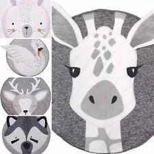 Spielteppich Teppich Kinderteppich Nordic Comic rund Waschbär Schwan Hase Decke