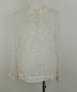 rag & bone S Romantic Blouse Silk Semi Sheer Floral & Stars
