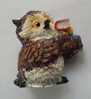 "Owl Wise with a Books figurine Souvenir Bird NEW Polystone 54 mm / 2,1"""