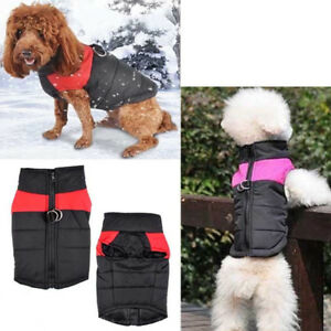 Pet Dog Padded Coat Zip-up Winter Warm  Waterproof Puppy Raincoat Clothes Vest