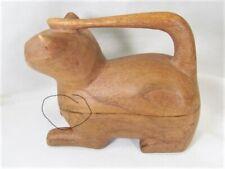 Cat Hand Carved Teak Wood Trinket Box Decorative Animal Decor Slightly Imperfect