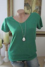Italia Basic T-Shirt Vintage Tinta Unita collo a V Smaragd-Grün Taglia Unica 36