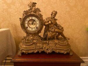 Antique Ansonia 'Rex' figurine mantle clock