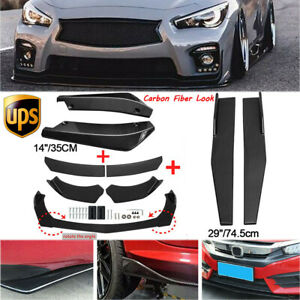 Carbon Fiber Front Bumper Spoiler+Side Skirt+Rear Lip For Infiniti Q50 Q60 Sport