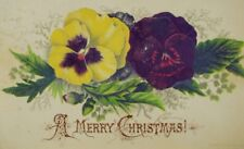1877 Victorian Christmas Trade Card Yellow & Purple Pansies P43