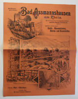 Orig. Prospekt Bad Assmannshausen am Rhein um 1890 Medizin Therme Gesundheit sf