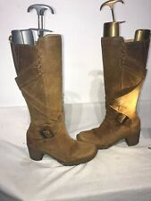 Dr Martens Aw501 Tan Leather Knee High Leather Ladies Boots Uk 4 Ref Ba12