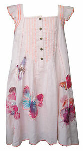 Girls Butterfly Dress Pink Ex-Store with Sequins 100% Cotton Sleeve-Less 3Y-1