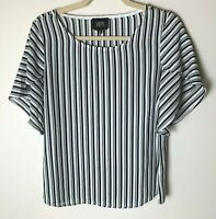 W5 Womens Top Size Small Short Sleeves Stripes Casual Work Career Business Black