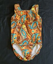 GK Elite Funky 70 Paisley Orange Aqua Velvet Leotard AS Small EUC USA Gymnastics