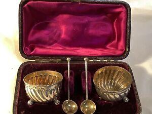 Antique Victorian Pair Hallmarked Silver Salts & Spoons Original Case