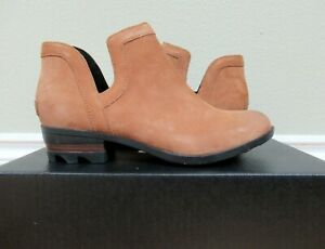 WOMENS SOREL 8 LOLLA CUT OUT BOOTIES BOOTS CAMEL BROWN