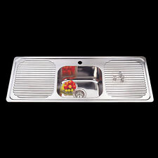 Stainless Steel Single Bowl Drop In Kitchen Sink with Double Drainer 1180x480