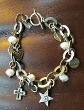 .925 Israel Sterling Silver Shablool bracelet with charms and pearls
