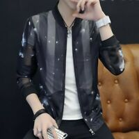 Mens Coats Summer Sun-proof Zipper Long Sleeve Printing Korean Youth Jackets New