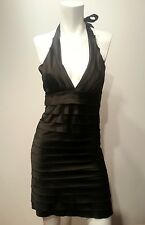 AKIRA Chicago Black Halter Dress Tiered Satin Sexy Cocktail Clubwear Size Small