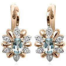 Russian Style Diamond & Aquamarine Earrings 14k 585 #E1210.