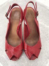 Red Patent Topshop Sandals Heels Sling Backs Size 36