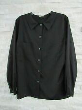 Vintage Giorgio Armani Black Matte Silk Peter Pan Collar Shirred Back Blouse 14