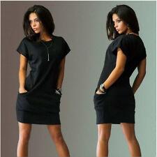 Womens Slim Bodycon Summer Mini Dress Ladies Short Sleeve Hoodie Tops Size 6-18