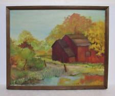 vintage abstract landscape farm landscape oil painting original by Schweickert