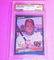 1986 Donruss Rookies #42 John Kruk RC Graded PSA 9 MINT Rookie SET BREAK