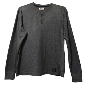 Le Tigre T Shirt Adult Large L Gray Long Sleeve Mens 1/4 Button Crew Neck Shirt